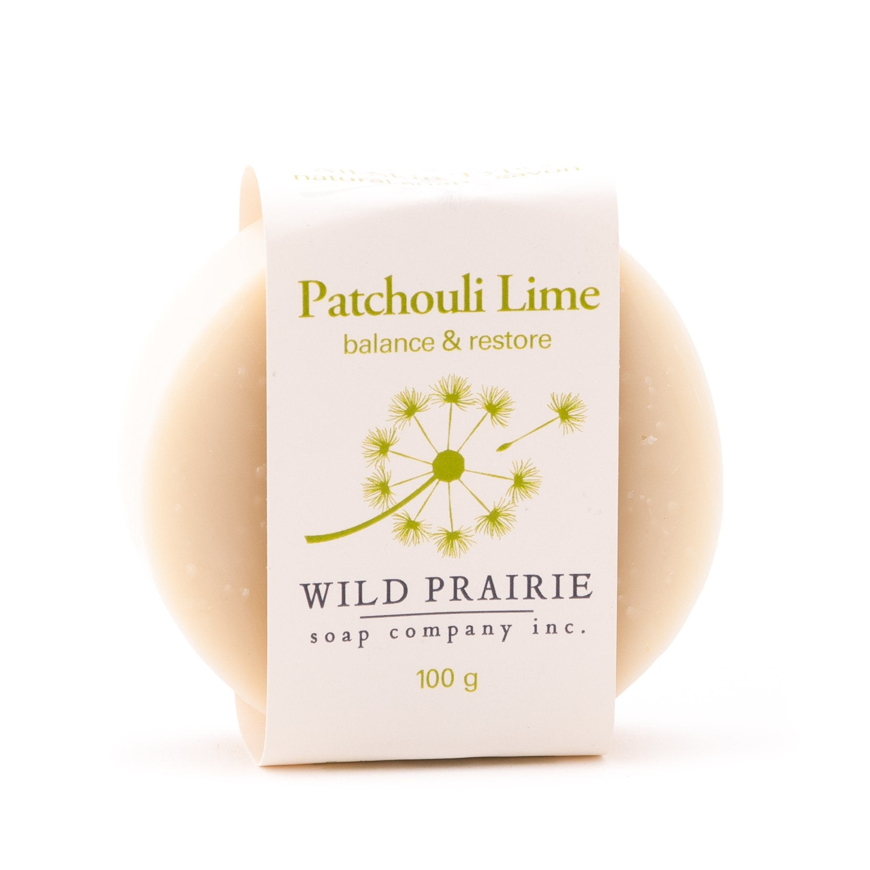 Canadian made natural soap with patchouli and lime.
