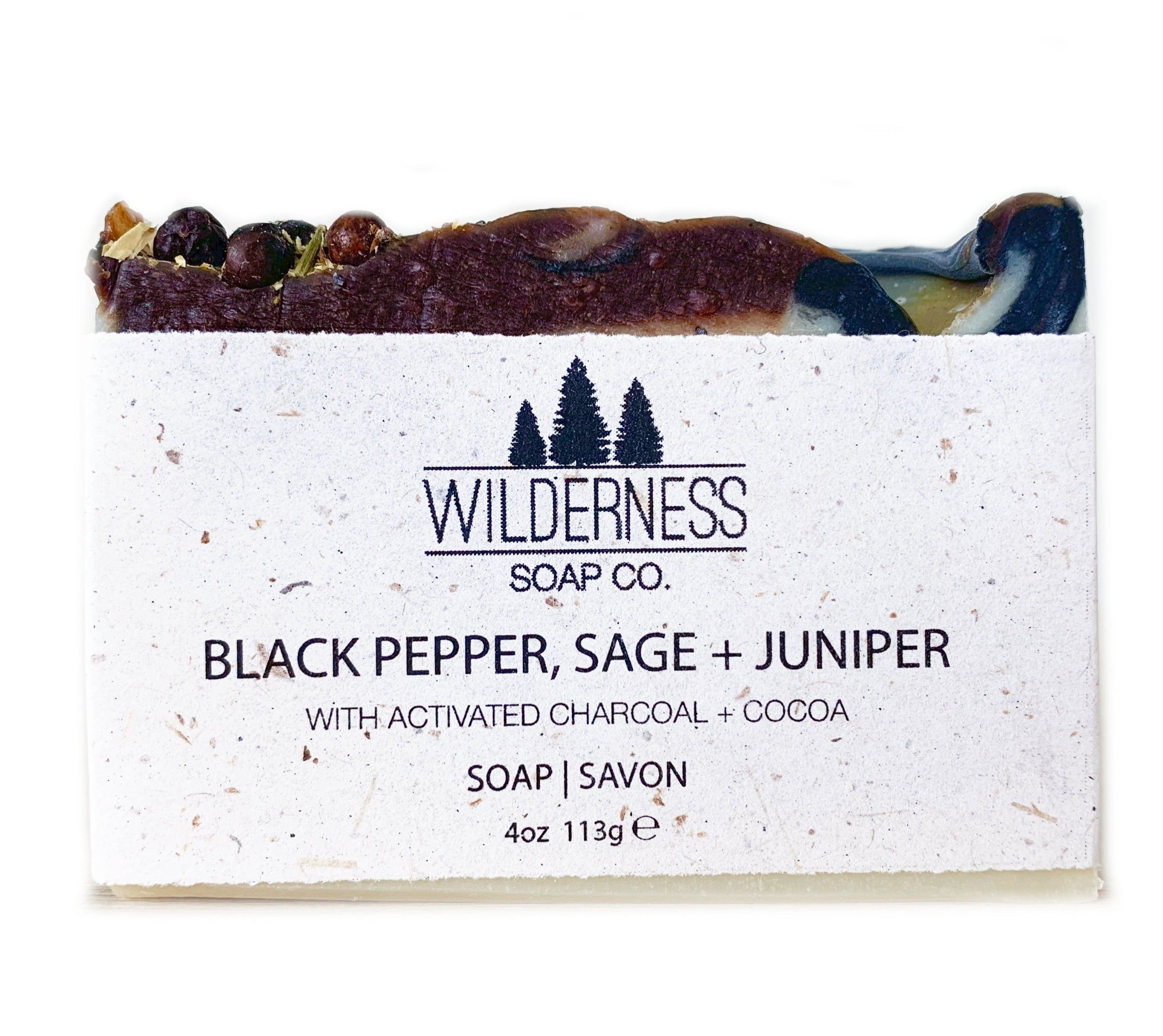 Made in Canada Natural Soap Bar with black pepper, juniper and sage.