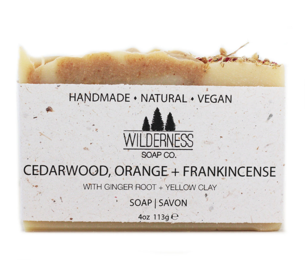 Made in Canada Natural Soap Bar with cedarwood, orange and frankincense.