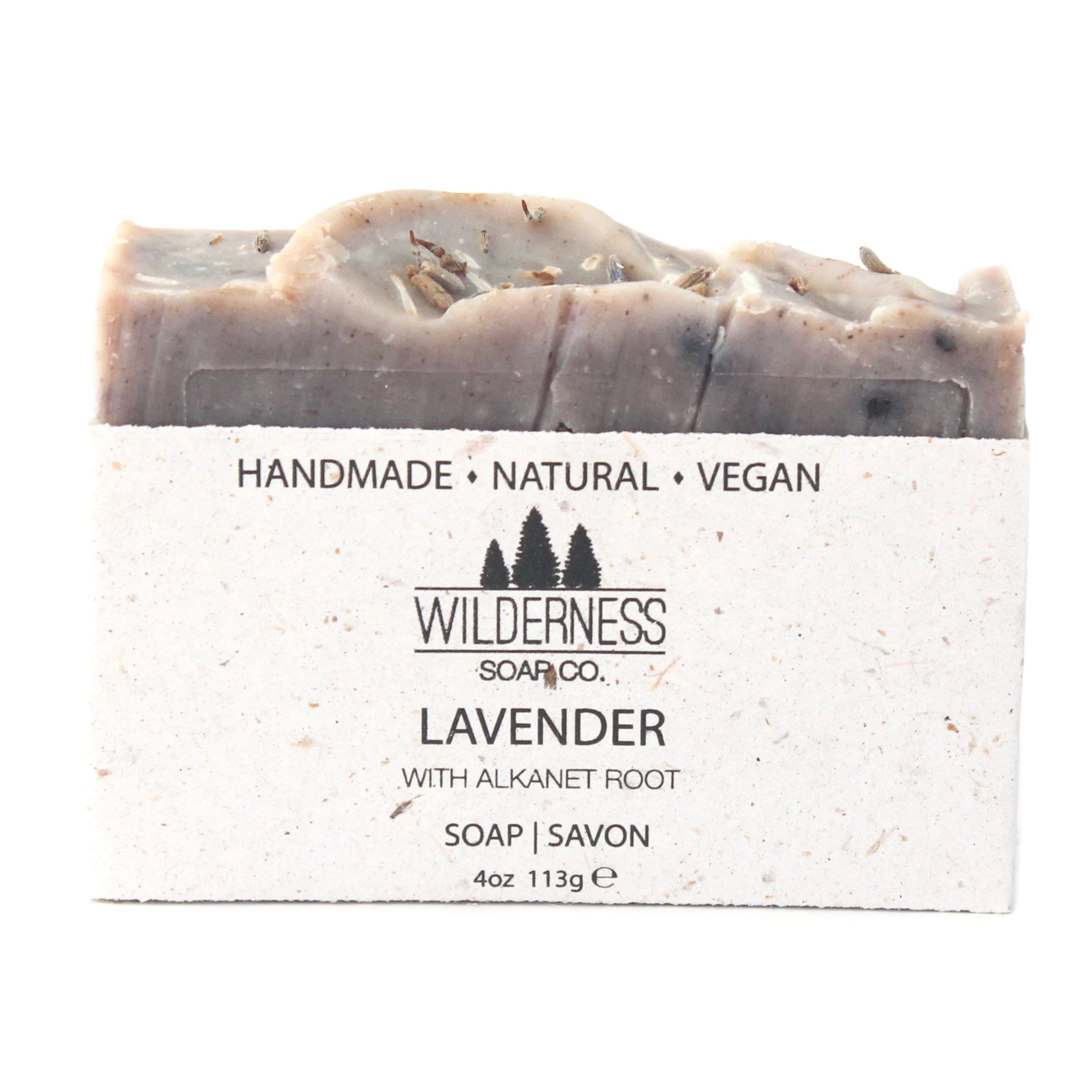 Made in Canada natural vegan handmade soap, scented with Lavender buds and Alkanet Root.