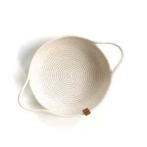 Made in Canada woven white cotton catch all bread basket.