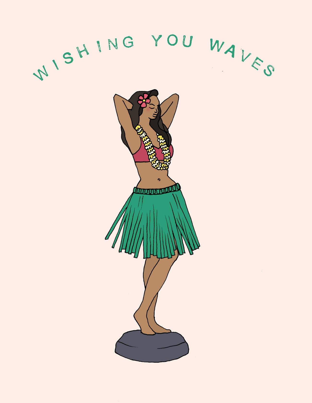Made in Canada surfing themed greeting card with drawing of Hawaiian hula girl Leilani. Caption reads: Wishing you waves