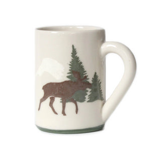 Made in Canada stoneware clay mug with brown moose and green trees.