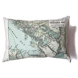 Made in Canada linen pillow case with hand printed vintage map of the eastern shore of Georgian Bay in Ontario, Canada.