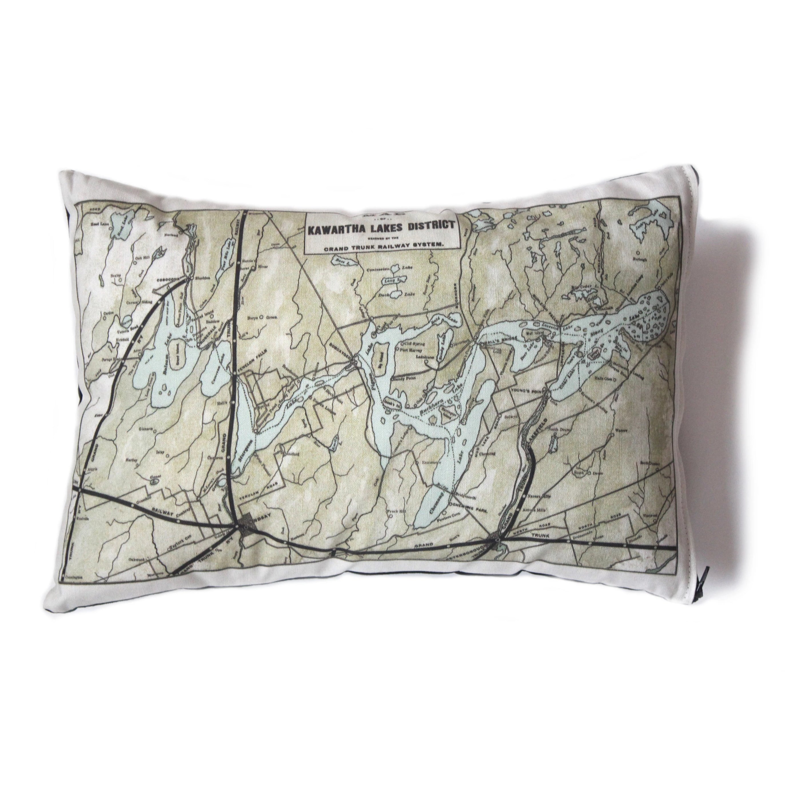 Made in Canada linen pillow case with hand printed vintage map of Kawartha Lakes District in Ontario, Canada.
