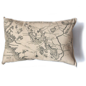 Made in Canada linen pillow case with hand printed vintage map of the Muskoka Lakes District and Georgian Bay in Ontario, Canada.