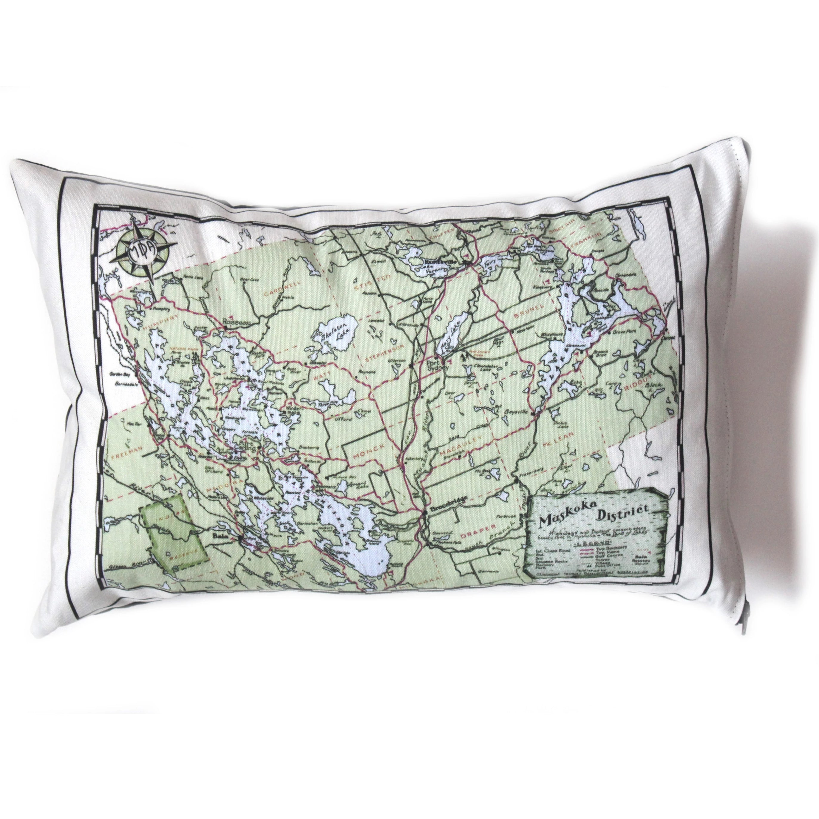 Muskoka District Map Pillow - Vintage Map Co.