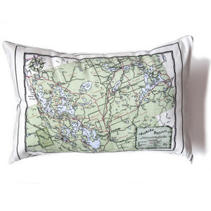 Made in Canada linen pillow case with hand printed vintage road map of the Canadian Muskoka District cottage country in Ontario, Canada.