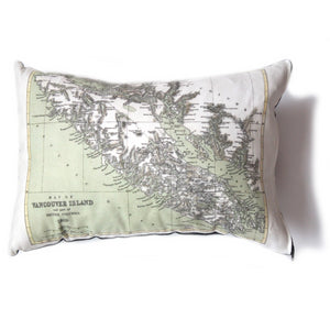 Made in Canada linen pillow case with hand printed vintage map of Vancouver Island in British Columbia, BC.