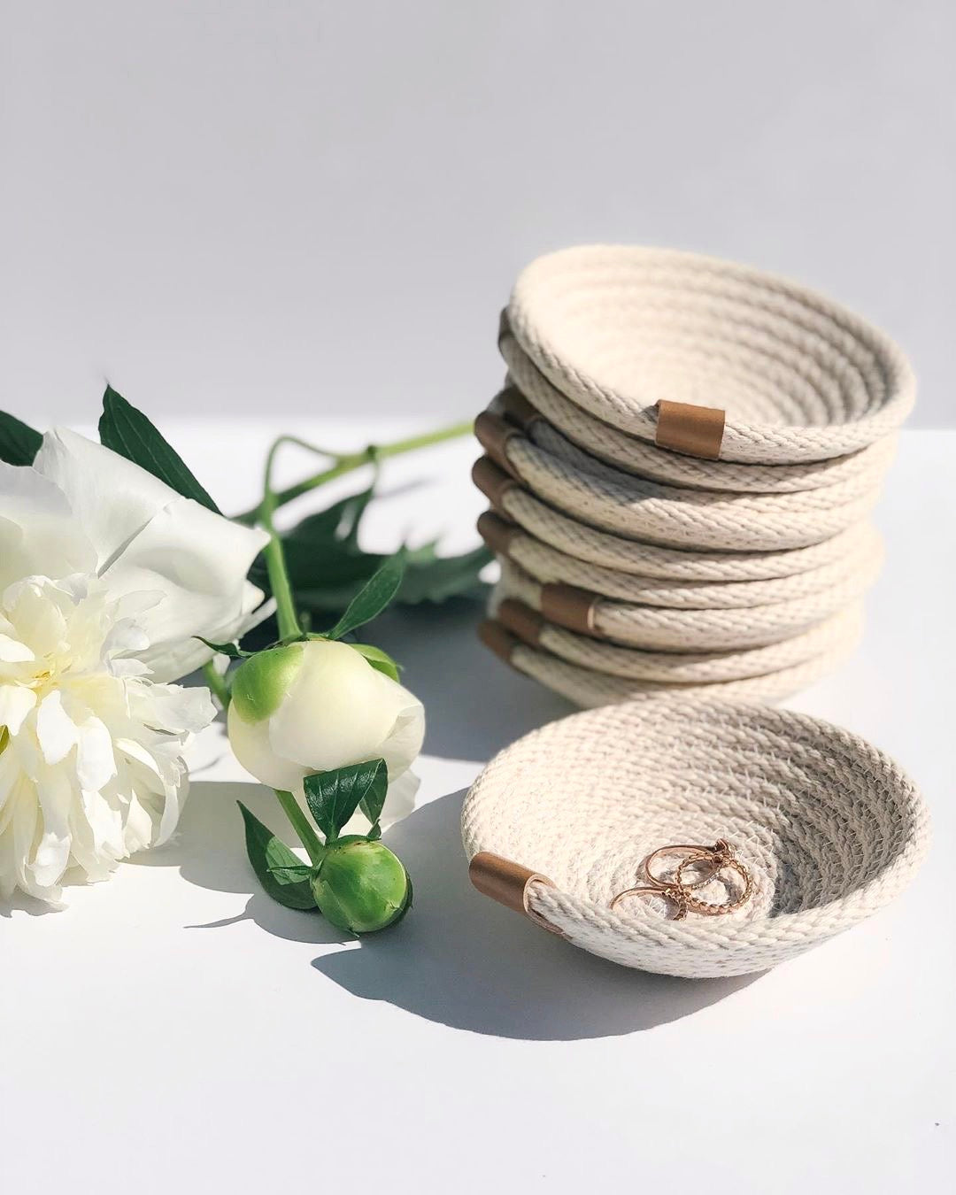 Made in Canada woven white cotton catch all jewellery ring dish.