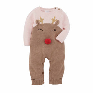 Pink Knit Reindeer One Piece