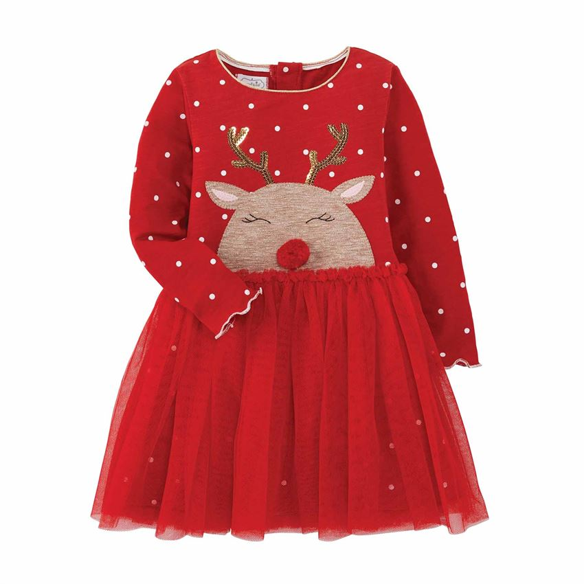 Girl's Reindeer Mesh Dress