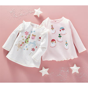 Girl's Glitter All The Way Tunic - White Christmas