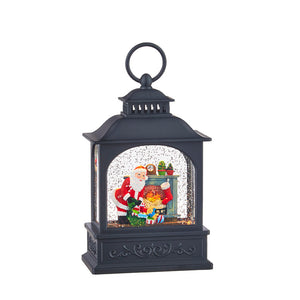Santa By The Fireplace Lighted Water Lantern