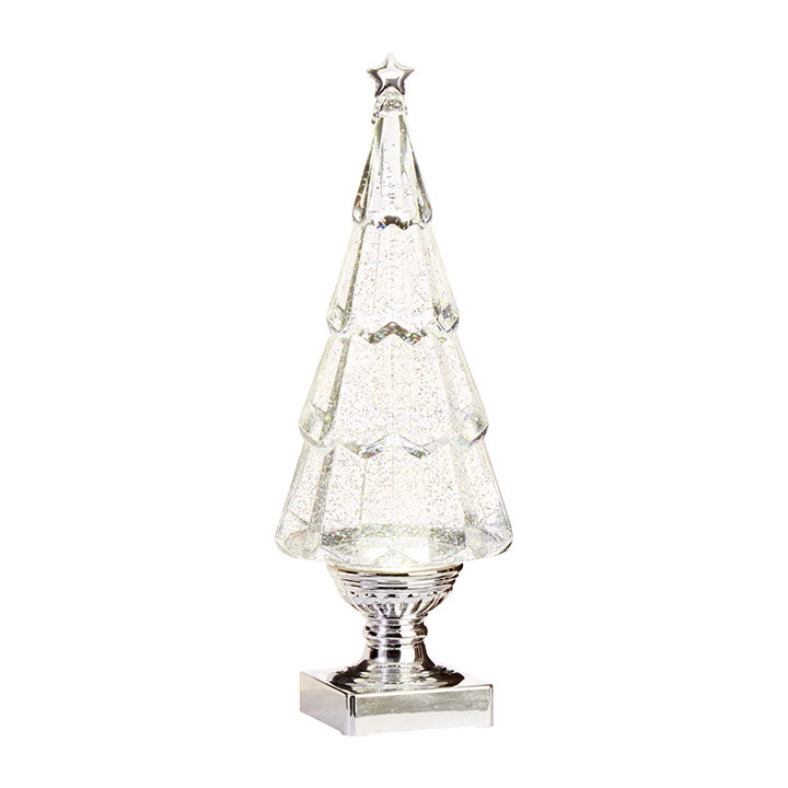 Lighted Tree with Silver Swirling Glitter