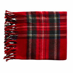 Red Tartan Fringe Throw