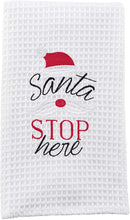 "Load image into Gallery viewer, ""Santa Stop Here"" Waffle Weave Towel"
