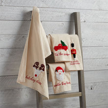"Load image into Gallery viewer, ""Santa Stop Here"" Large French Knot Towel"