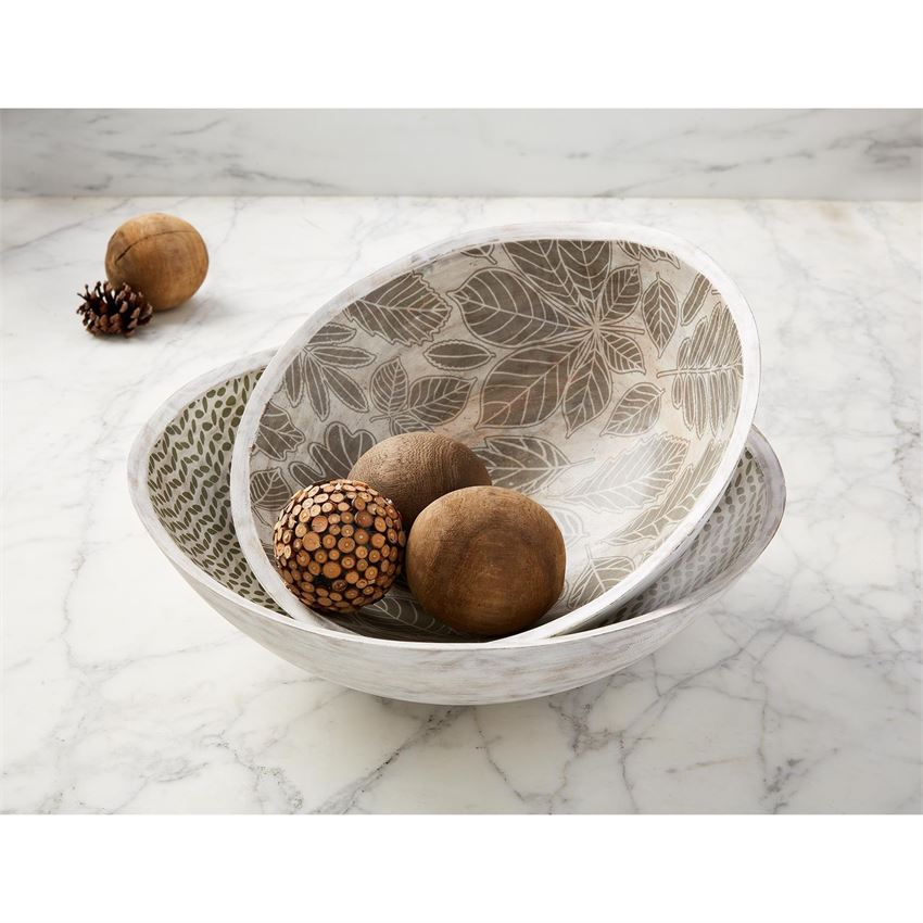 Wood Leaf Enamel Bowl Set