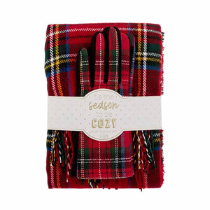 Holiday Scarf and Gloves Set - Red