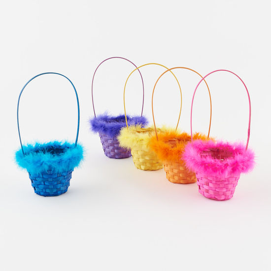 Small Bamboo Basket with Marabou Trim