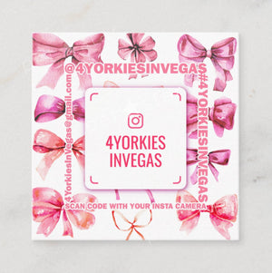 Hand-Painted Bows Card - Pink