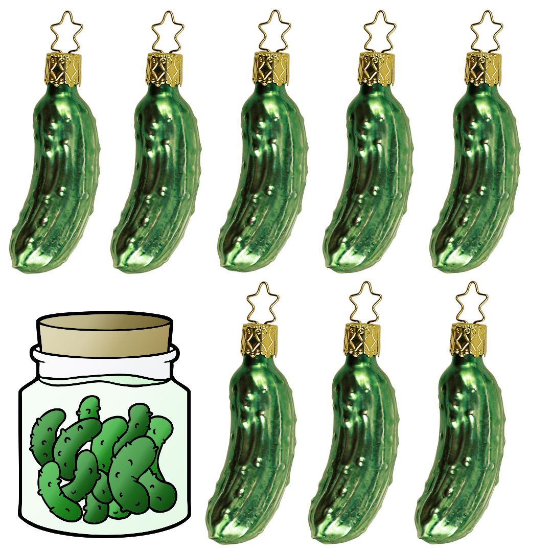 Gingerbread World German Christmas Market – Traditional Christmas Pickle Glass Tree Ornament