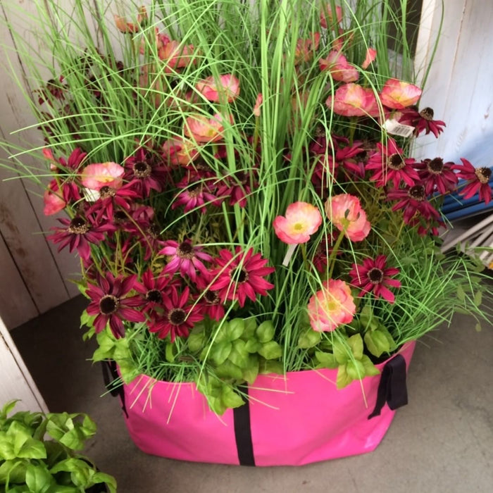 Blooming Walls Canada The Green Bag® Plant Bag, Medium - Pink Bag filled with Flowers and Grasses