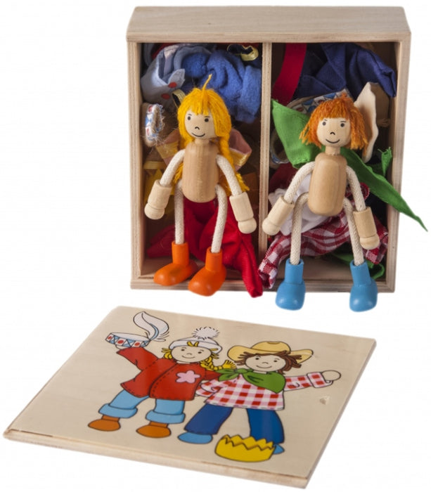 Goki Toys Flexible Dolls Birte & Ben with Box of Dress Up Clothes