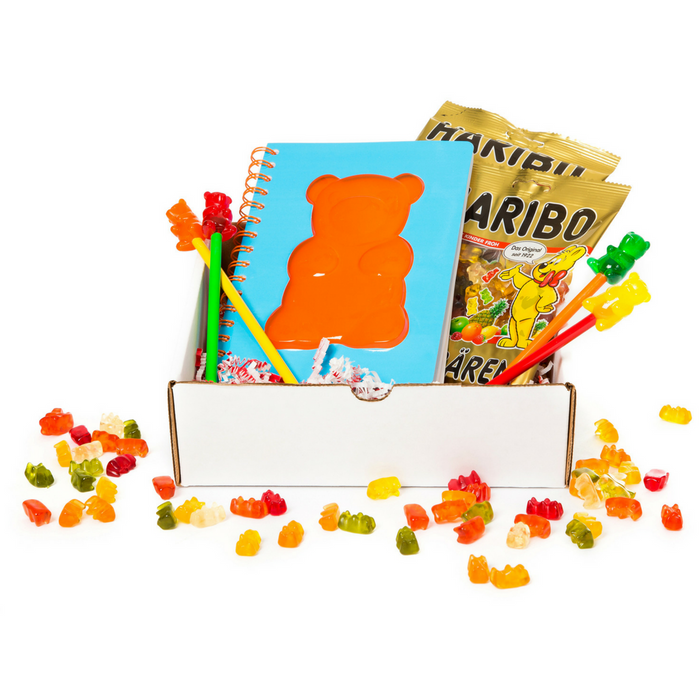 Gingerbread World Gummy Bear Box. Kids Gift Box with Gummy Bear stuff and Haribo Gummy Bears