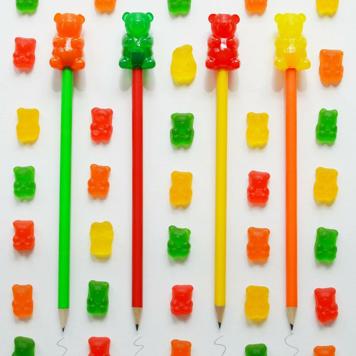Gummy Bear Inspired Pencil Toppers and Gummy Bears to Eat
