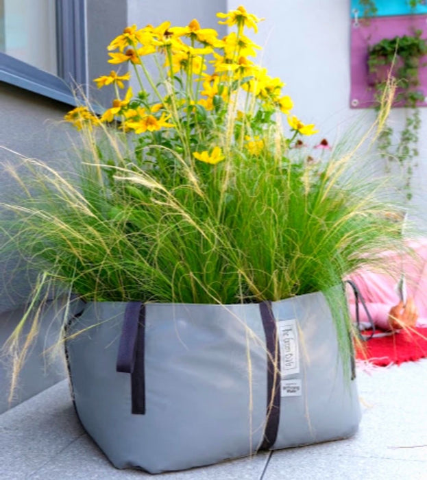 Blooming Walls Canada The Green Bag® Plant Bag, Medium - Grey Bag filled with flowers and grasses