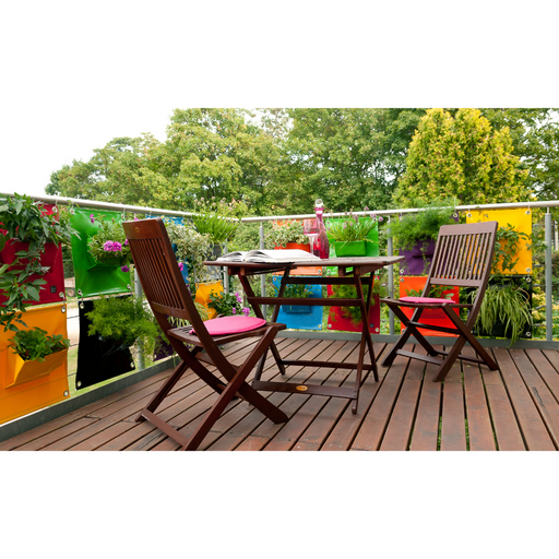 Blooming Walls Canada The Green Pockets Hanging Planters mosaic of bright colours on balcony railing
