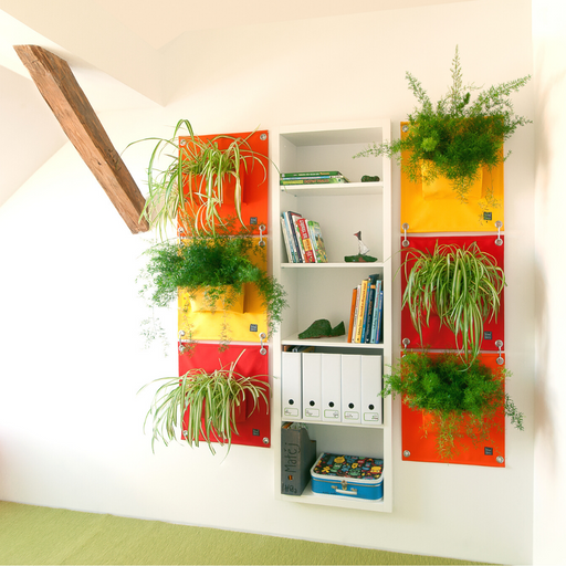 Blooming Walls Canada The Green Pockets Hanging Planters on indoor wall mosaic of bright colours