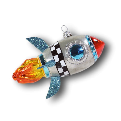 European Ware Haus Glass Christmas Tree Ornaments from Europe - Rocket Ship Sky Rocket