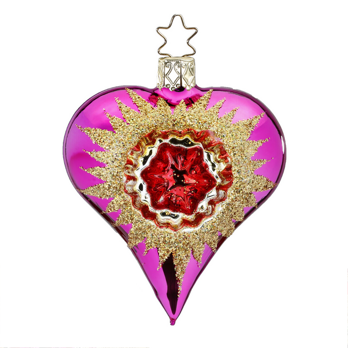 European Ware Haus Gingerbread World Glass Christmas Ornament – Inge-Glas Reflection Heart Red