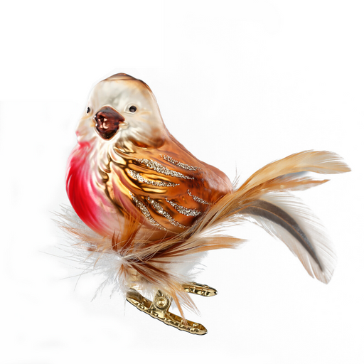 European Ware Haus Gingerbread World Glass Christmas Ornament – Inge-Glas Clip On Bird Robin