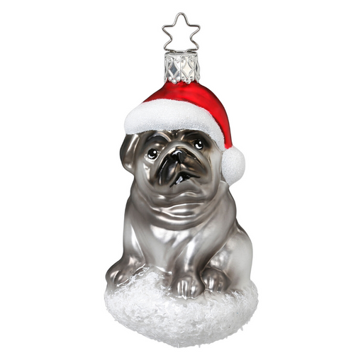 European Ware Haus Gingerbread World Glass Christmas Ornament – Inge-Glas Pug Pooch