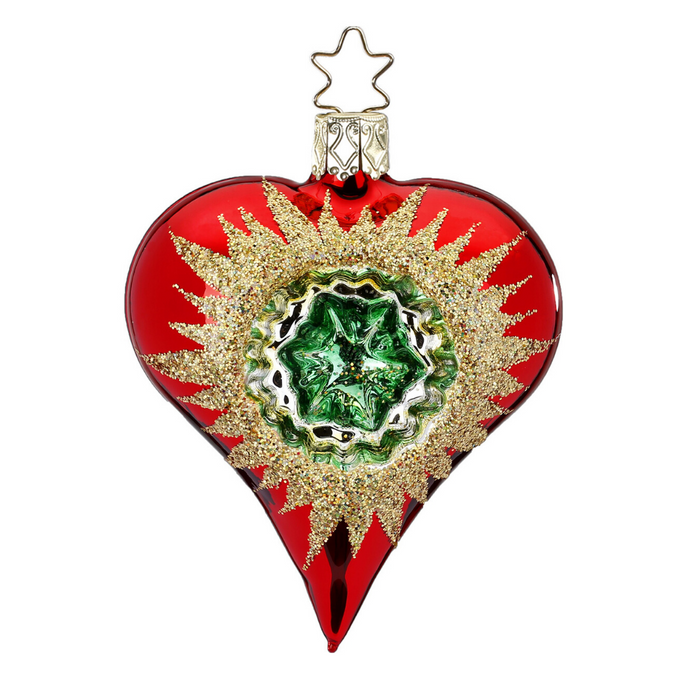 European Ware Haus Gingerbread World Glass Christmas Ornament – Inge-Glas Reflection Heart