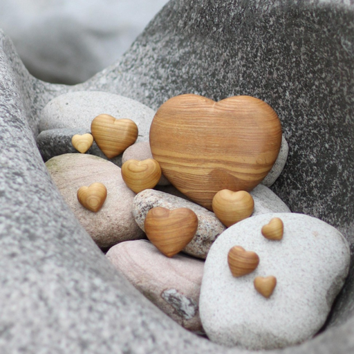 European Ware Haus Waldfabrik Canada Heart Shaped Natural Wood Stones Set of 6