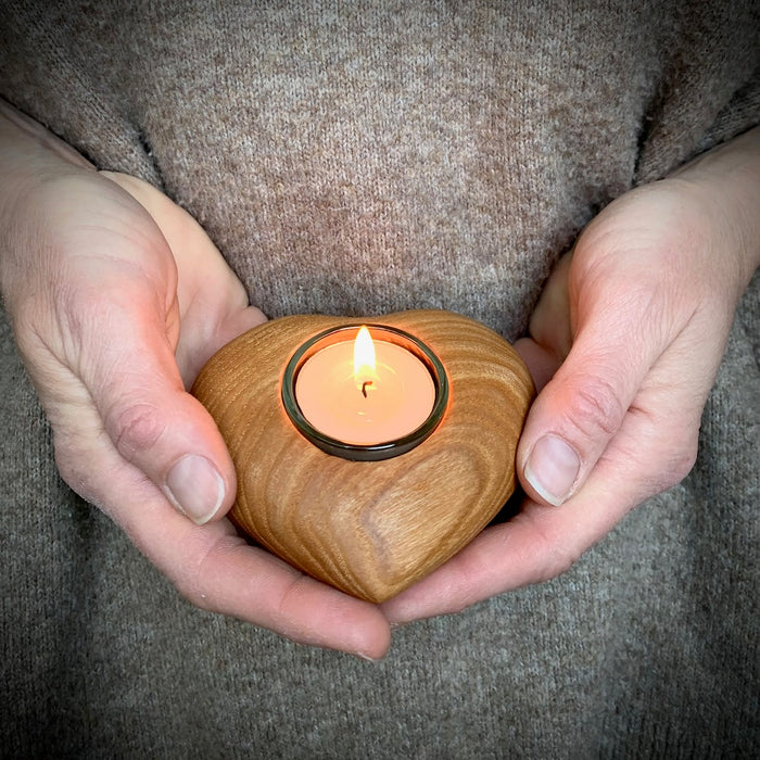 Waldfabrik Natural Wood Heart-Shaped Candle Holder