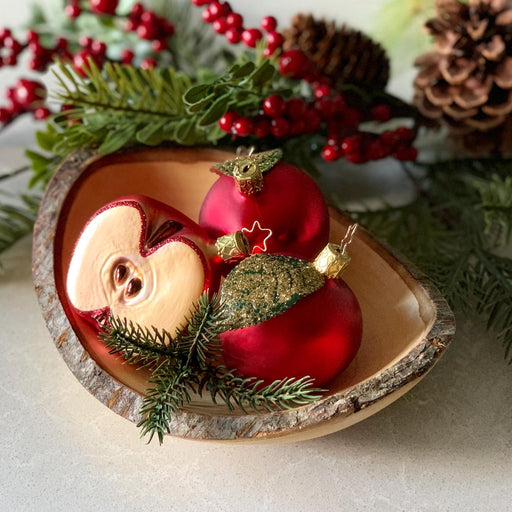 European Ware Haus Gingerbread World Glass Christmas Ornament – Inge-Glas Half Apple