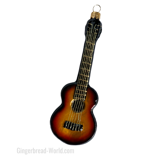 Gingerbread World European Ware Haus - Hanco Glass Ornament Acoustic Classical Guitar H144404