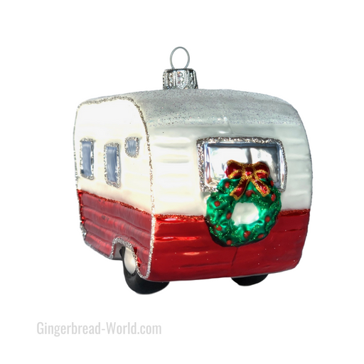 Gingerbread World European Ware Haus - Hanco Glass Ornament Camper Trailer H263401