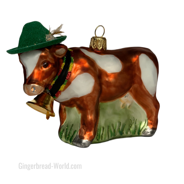 Gingerbread World European Ware Haus - Hanco Glass Ornament Cow with Bavarian Hat H284701