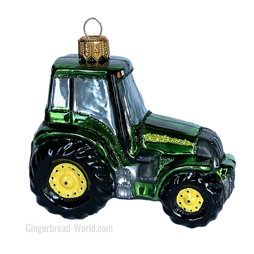 Gingerbread World European Ware Haus - Hanco Glass Ornament Green Tractor - H268305