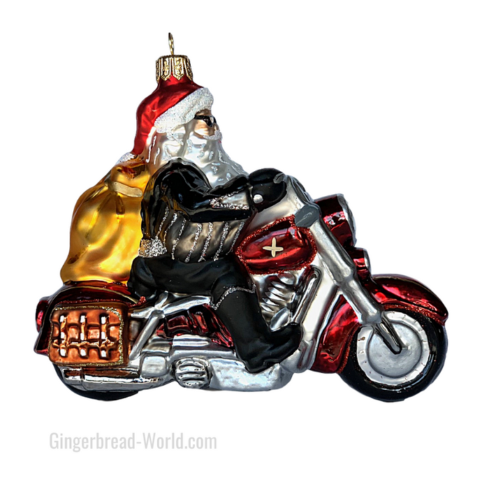 Gingerbread World European Ware Haus - Hanco Glass Ornament Santa on Harley H164801