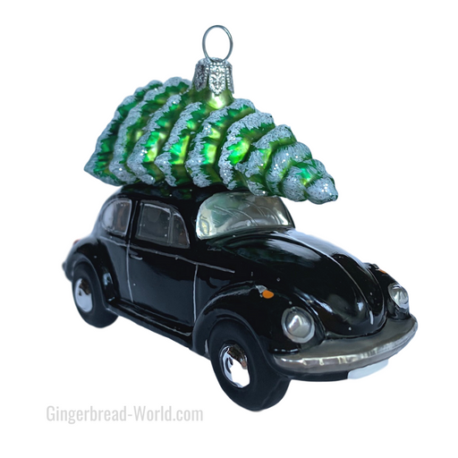 Gingerbread World European Ware Haus - Hanco Glass Ornament VW Beetle Black with Tree - H253502 - Officially Licensed Volkswagen Product
