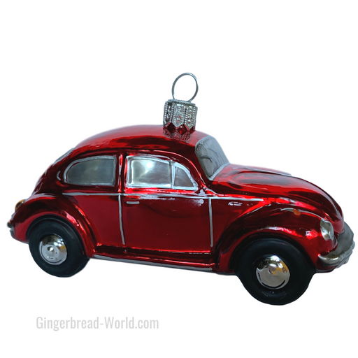 Gingerbread World European Ware Haus - Hanco Glass Ornament VW Beetle Red - H228302 - Officially Licensed Volksweagen Product