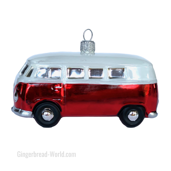 Gingerbread World European Ware Haus - Hanco Glass Ornament VW Bus Campervan H228401 - Officially Licensed Volkswagen Product